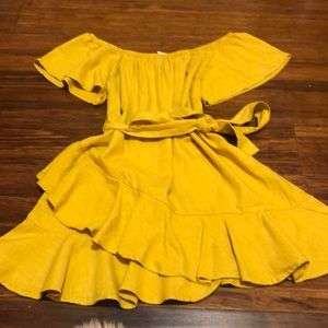 OFF THE SHOULD MUSTARD DRESS